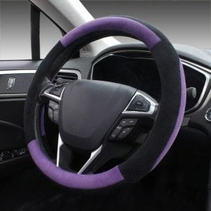 SEG Direct Purple Plush Winter Steering Wheel Cover