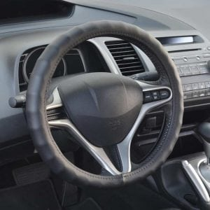 BDK Genuine Leather Car Steering Wheel Cover