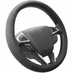 SEG Direct Black Microfiber Leather Auto Car Steering Wheel Cover