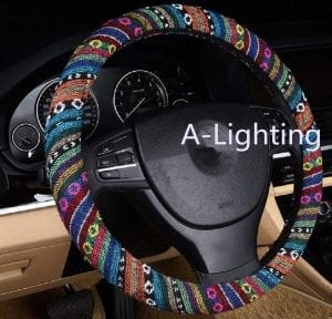 A-Lighting Ethnic Style Coarse Flax Cloth Automotive Steering Wheel Cover