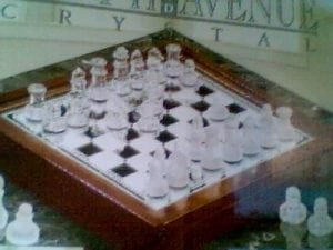 "1. Crystal Clear 68.p. 3 in 1 Glass Game Sets - 12"" Chess"