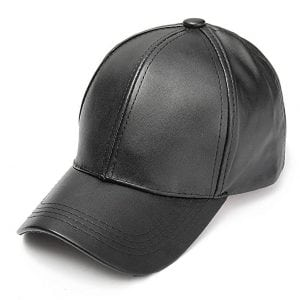SUNNYME Unisex Faux Leather Baseball Adjustable Cap