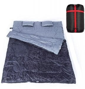 Double Sleeping Bag with 2 Pillows for Couple