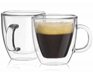 JoyJolt Savor Double Wall Insulated Glass Espresso Mugs