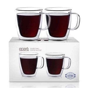 Eparé 12 oz Insulated Coffee Glass (Set of 2)