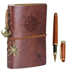 Leather Writing Journal Notebook Vintage Nautical Spiral 7-Inch Unlined