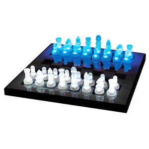3. LumiSource SUP-LEDCHES-BW LED Lightened Glow Chess Set, Blue/White
