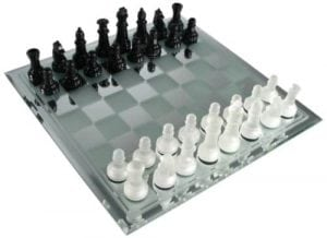 5. Avant-Garde Black Frosted Glass Chess Set with Mirror Board