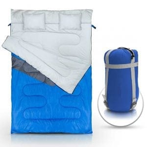 Double Sleeping Bag (Queen Size) with 2 Small Pillows
