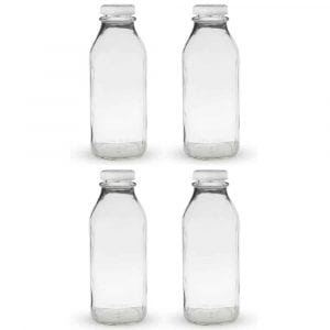 Libbey Clear 33.5 oz Glass Milk Bottle with Lid