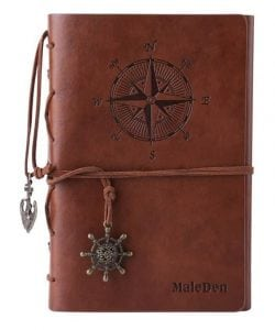 MALEDEN Spiral Daily Leather Writing Journal Notebook