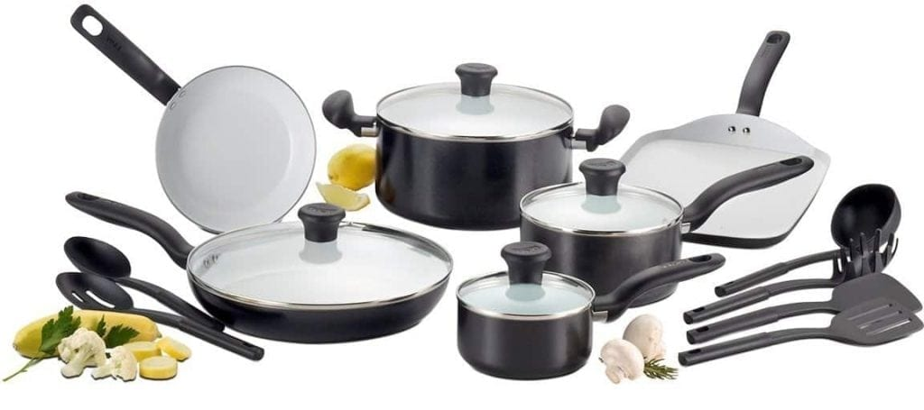 T-fal C921SG Initiatives Nonstick Ceramic Coating Cookware Set