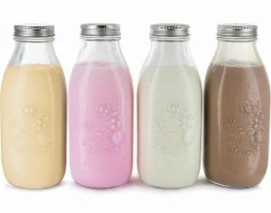Estilo Clear Dairy Glass Milk Bottles, Metal Lids, Reusable