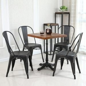 Belleze Set of (4) Metal Chairs Side Dining Steel High Back Counter