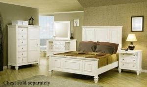 King Size Bedroom Set in White Finish