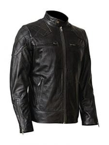 Wonderpiel Men's Genuine Lambskin Leather Biker Jacket for Men