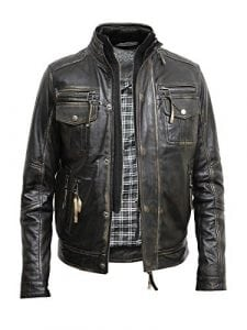 Brandslock Men's Vintage Leather Biker Jacket