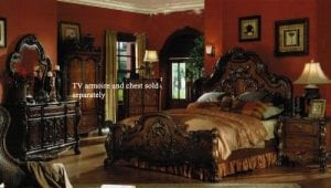 4pc King Size Set Brown Cherry Finish