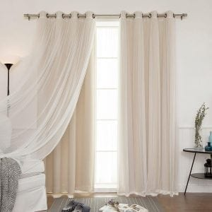 Best Home Fashion Tulle Sheer Blackout Curtain Set