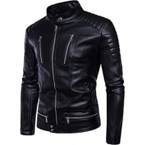 Men's Leather Jacket Smooth Zip Up Fitted Leather Jacket