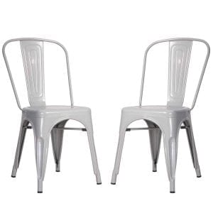 Merax High Back Steel Stackable Indoor and Outdoor Vintage Metal Dining Chairs Set