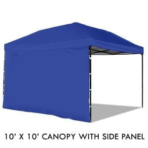 Pop-up Canopy Tent with Sidewall 10 x 10 Feet, Blue - UV Coated