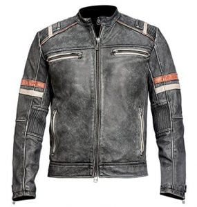 Café Racer Retro Vintage Motorcycle Leather Jacket for Men