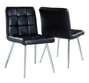 Monarch Specialties Black Leather-Look/Chrome Metal 2-Piece Dining Chair