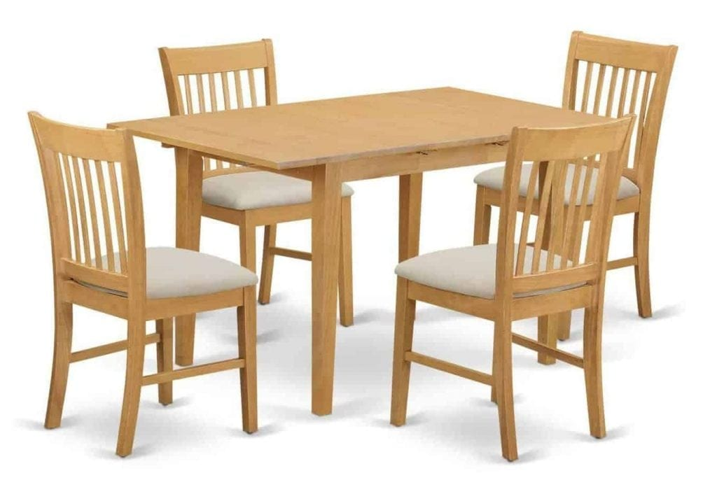 East West Furniture NOFK5-OAK-C 5-Piece Dinette Table Set