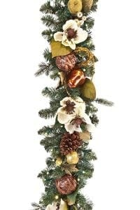 Cream : Gold 9' Pre-Lit Decorated Garland - 1