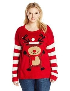 Blizzard Bay Women's Plus-Size Happy Rudolph Ugly Christmas Sweater