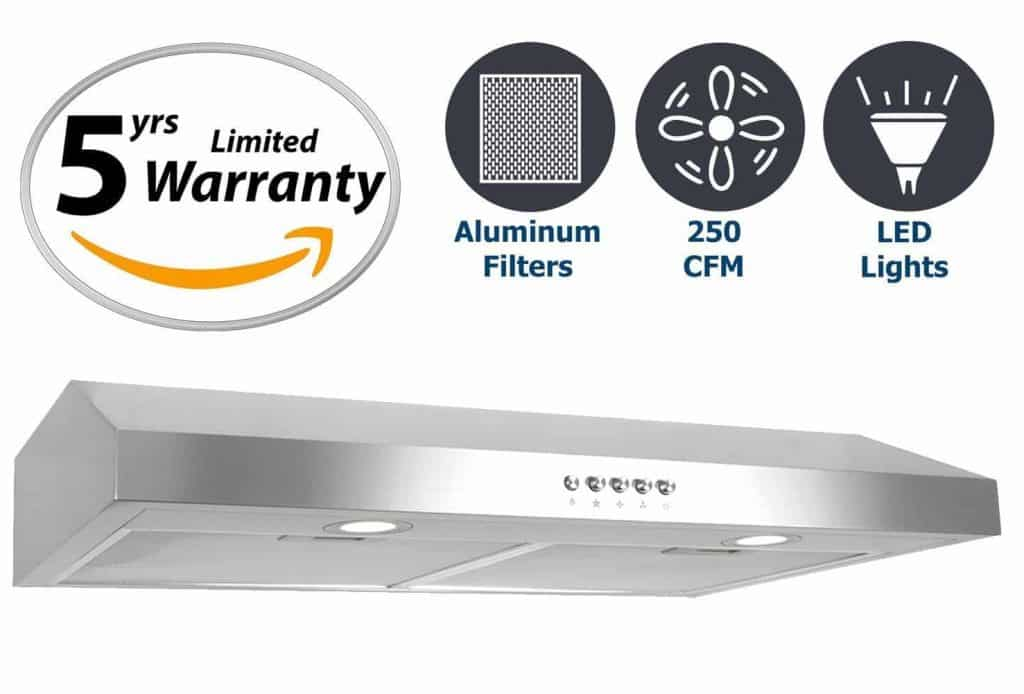 Cosmo 30 in. 250 CFM Ducted Under Cabinet Range Hood