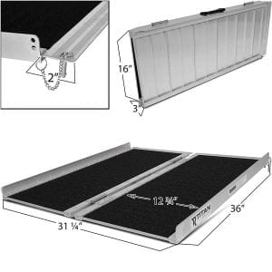 Titan 3′ x 30″ Non-Skid Aluminum Briefcase Shape Traction Ramp That's Folding Portable