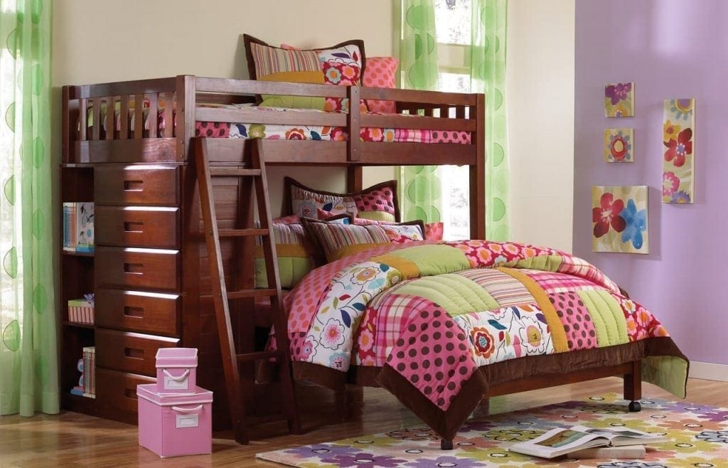Discovery World FurnitureTwin Over Full Loft Bed in Merlot Finish