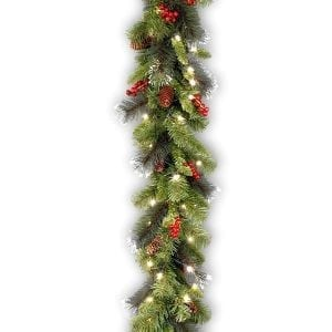 National Tree 9 Foot by 10 Inch Crestwood Spruce Garland with Silver Bristle