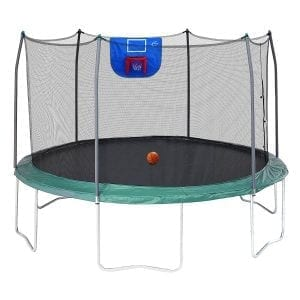 Skywalker Trampolines 12-Feet Jump N' Dunk Trampoline with Safety Enclosure and Basketball Hoop