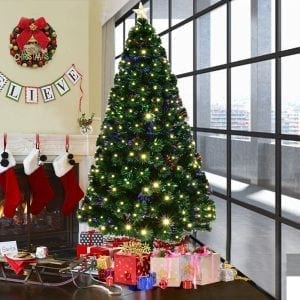 Goplus 6FT Artificial Christmas Tree Pre-Lit Optical Fiber Tree 8 Flash Modes