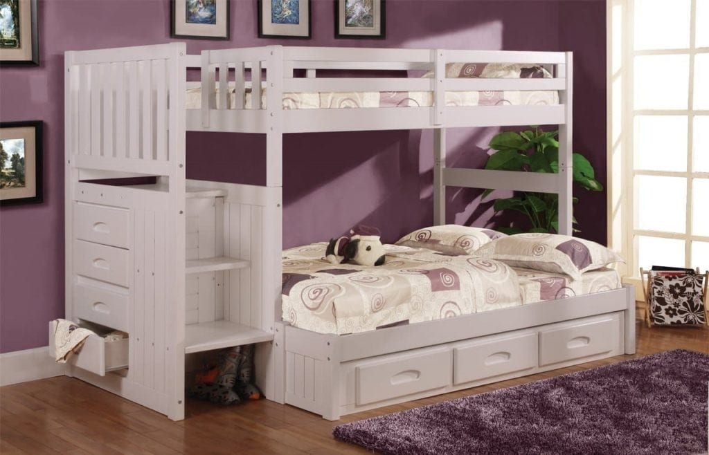 Discovery World FurnitureTwin Over Full Stair Stepper Bed with 3 Drawers