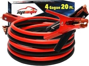EPAuto 4 Gauge x 20 Ft 500A Heavy Duty Booster Jumper Cables with Travel Bag and Safety Gloves
