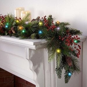 Brookstone Cordless LED Pre-lit Cone & Berry Christmas Garland