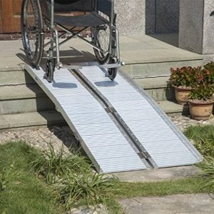 HomCom 6′ Folding Portable Suitcase Ramp For Mobility Wheelchair Threshold