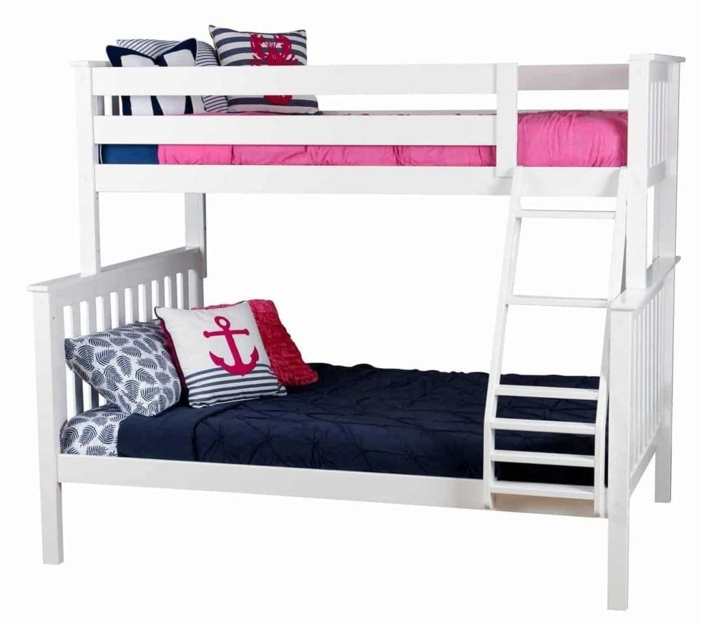 Max Lily Solid Wood Twin Over Full Bunk Bed White