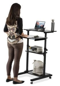 Mount-It! Mobile Stand Up Desk : Height Adjustable Computer Table Cart