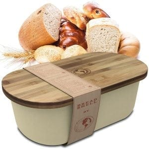 Bread Box Storage Basket | Container Bin with Bonus Bamboo Cutting Board Lid