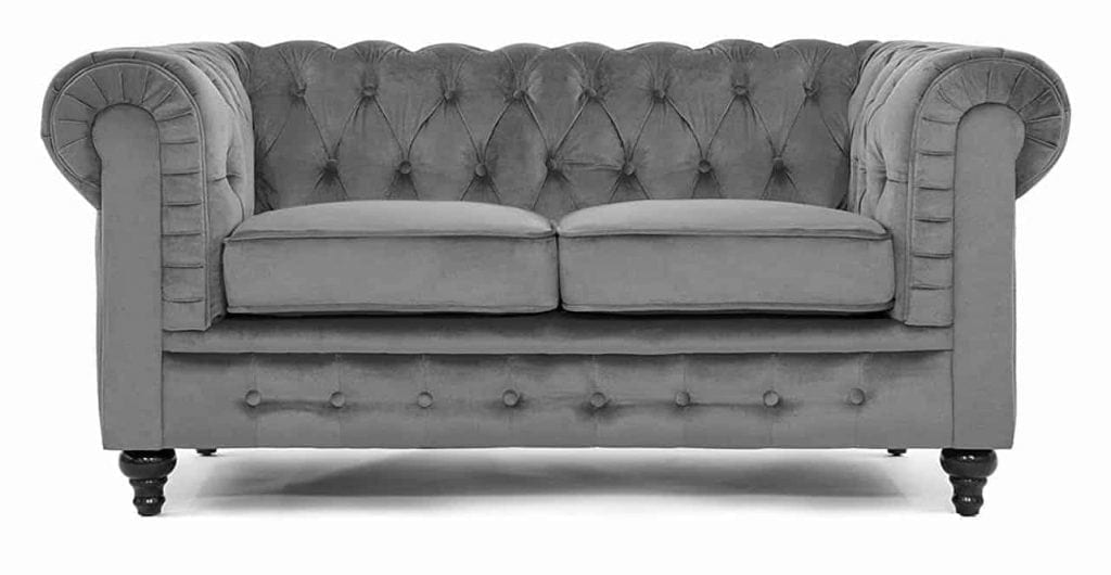 Classic Modern Scroll Arm Velvet large Love Seat Sofa