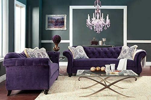 FOA Antoinette collection purple premium Sofa and Love seat set