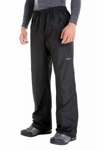 Men's Waterproof Windproof Elastic-Waist Rain Pants with Front Zipper Pockets