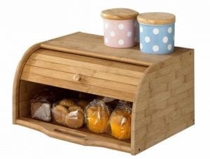 Betwoo Natural Wooden Roll Top Bread Box Kitchen Food Storage