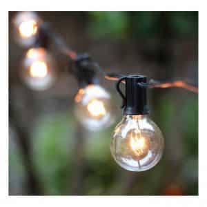 25FT G40 Globe outdoor string lights with Clear Bulbs