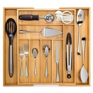 Bamboo Expandable Drawer Organizer, Premium Cutlery and Utensil Tray